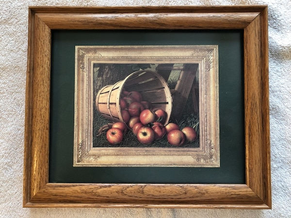 brown wooden framed painting of fruits