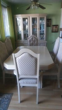 rectangular white wooden table with six chairs dining set Laval, H7M