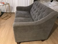 Gray suede tufted couch