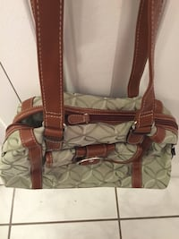 green and brown leather crossbody bag