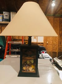 Fishing lamp for cottage, colors are forest green, brown and beige