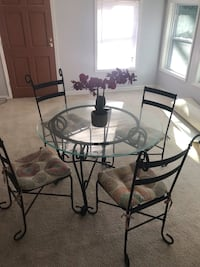 round glass top table with four chairs dining set Riverdale, 30296