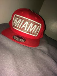 embroidered red and white Miami cap