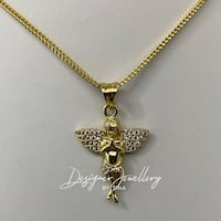 10K gold micro cubic zirconia angel chain set Mississauga
