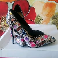 pair of red and black floral platform stilettos Rosedale, 21237