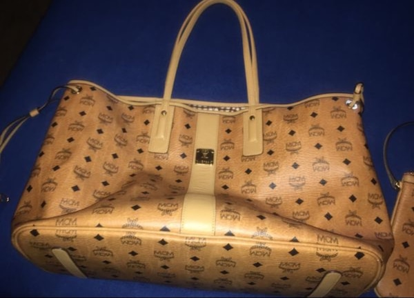 b614375ad6488 Used White and brown leather mcm monogram handbag for sale in Decatur -  letgo