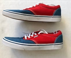 Mens VANS Red White Blue Canvas Lace Up Low Pro Top Sneakers 11