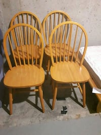 4/ brown soiled wooden windsor chairs Toronto
