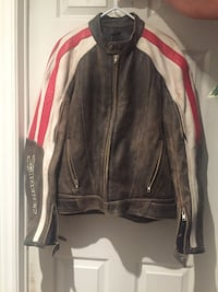 Grey, red and white leather zip-up jacket Kitchener, N2E 4E2