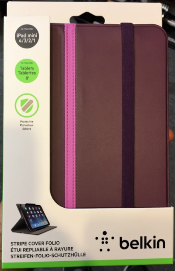 "belkin striped cover with stand for ipad mini and all 8"" tablets"