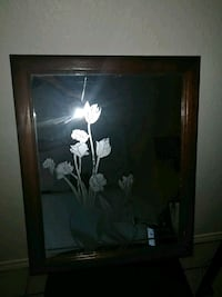 black wooden framed painting of white petaled flower Edinburg, 78539