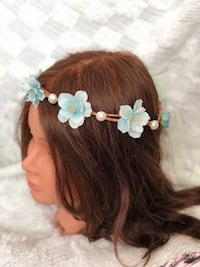 women's white and brown floral headband