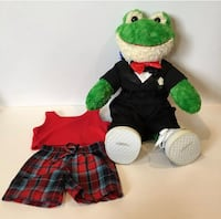 "BUILD A BEAR Smiling Frog Large 18"" Stuffed Plush Toad Clothing Sets Mc Lean, 22101"