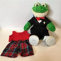 """BUILD A BEAR Smiling Frog Large 18"""" Stuffed Cuddly Plush Toad W/ Clothing Sets"""