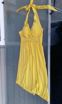yellow spaghetti strap mini dress