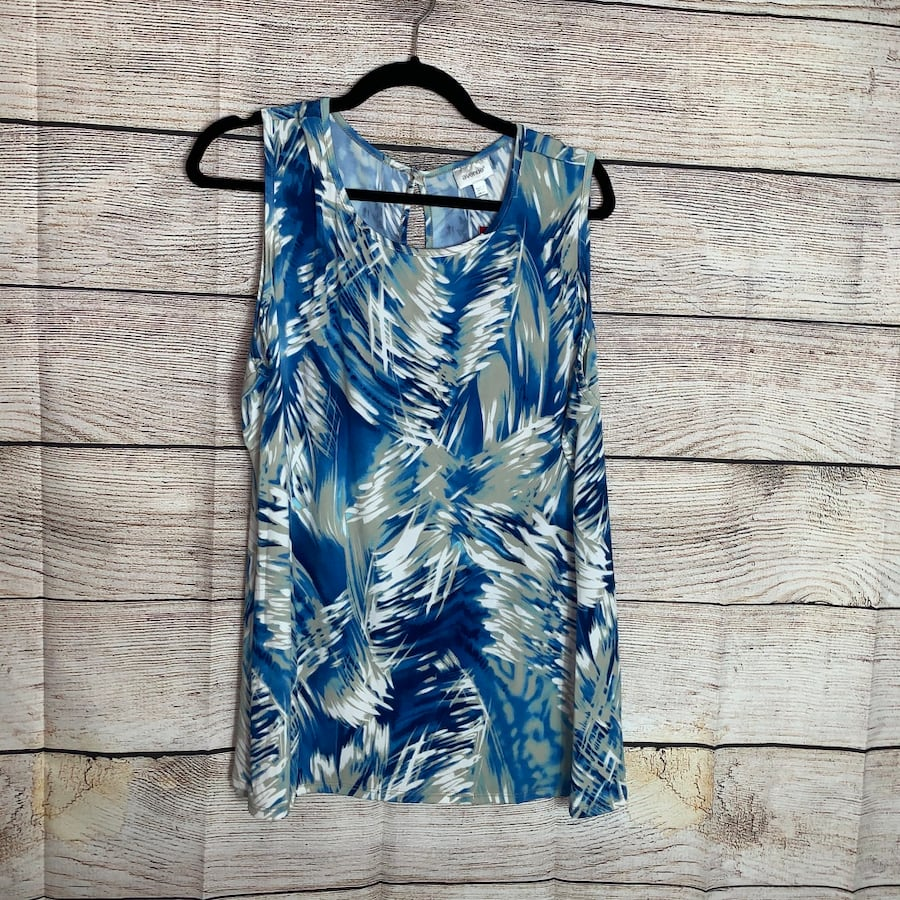 Avenue Womens Blue/White Sleeveless Blouse d456b867-3008-4cba-a137-822354b1f254