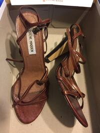 pair of brown leather Steve madden strappy heels , 61/2 College Station, 77840