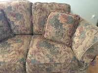 Loveseat with throw pillows
