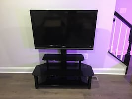 TV Entertainment Stand - Tempered Glass - Black