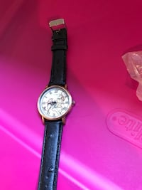 round silver chronograph watch with black leather strap Winnipeg, R3N