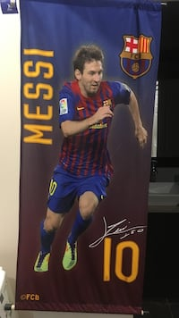 Lionel Messi tapestry from the stadium
