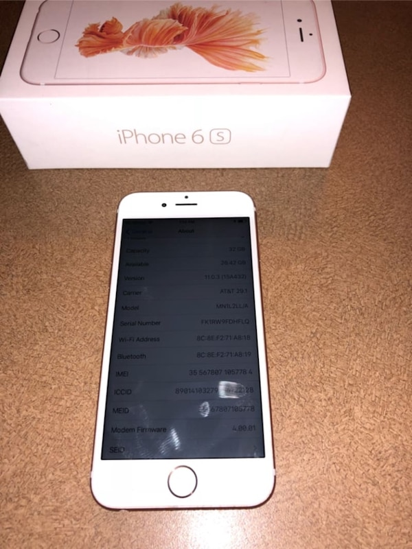 info for 66436 c18db Rose Gold IPhone 6 32gb ( sprint or boost )