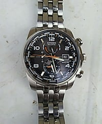 round silver chronograph watch with link bracelet El Centro, 92243
