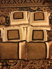 six white and brown fabric throw pillows Morris, 60450