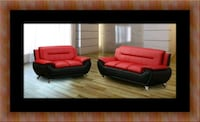Red and black sofa and loveseat 2pc set Woodbridge, 22191