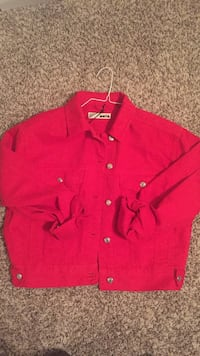 red button-up coat Houston, 77083