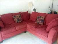 red fabric sectional sofa with throw pillows Germantown, 20874