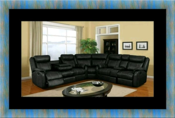 Cshape sectional black bonded leather