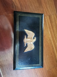 Vintage Philipp Design for Swank Black w/ Gold Eagle Jewelry Chest Box