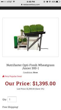 CommerciaCIAL WHEATGRASS JUICER - OPTIFRESH BY NUTRIFASTER it is still in the box El Sobrante, 94803