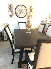 Rectangular brown wooden table with six chairs dining set Marina Del Rey, 90292