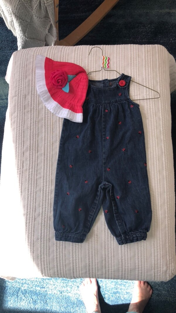 58322fa96 Used 12-18m Girls Gymboree denim overalls ladybugs hat for sale in ...