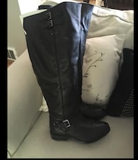 Pair of black leather wide calf knee-high boots  Amherstburg, N9V 3H9
