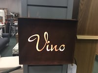 """Vino"" laser engraved rusty steel sign with light. 12""W x 3""D x 10""H Heath, 43056"