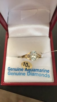 Genuine Aquamarine/ 2 Diamond ,10 KT ,BN ,Never been worn , Edmonton, T5Y 4M2