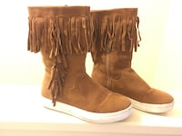 pair of cognac suede fringe boots Raleigh, 27604