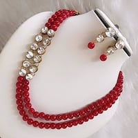 beaded red and white necklace Jaipur, 302002