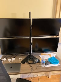 "4x Asus 23.8"" 1080p Monitors + apple cables  + table mount"