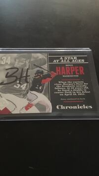 Bryce Harper Autographed panini chronicles Bendena, 66087