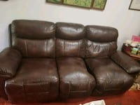 brown leather 3-seat recliner sofa 56 km