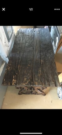 black and brown wooden table iron base Las Vegas, 89122