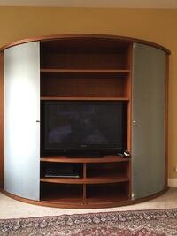 white and brown wooden television armoire with flat screen television Bellingham, 98229