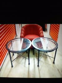 1 chair & 2 glass end tables