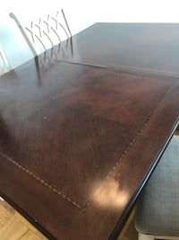 black wooden framed brown wooden table