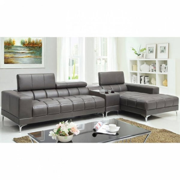 2 Pc. Set SECTIONAL + SPEAKER CONSOLE IN GRAY  - Brand New - Free Home Delivery SF bay area
