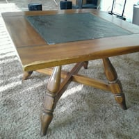 Wood and black stone end table  2287 mi